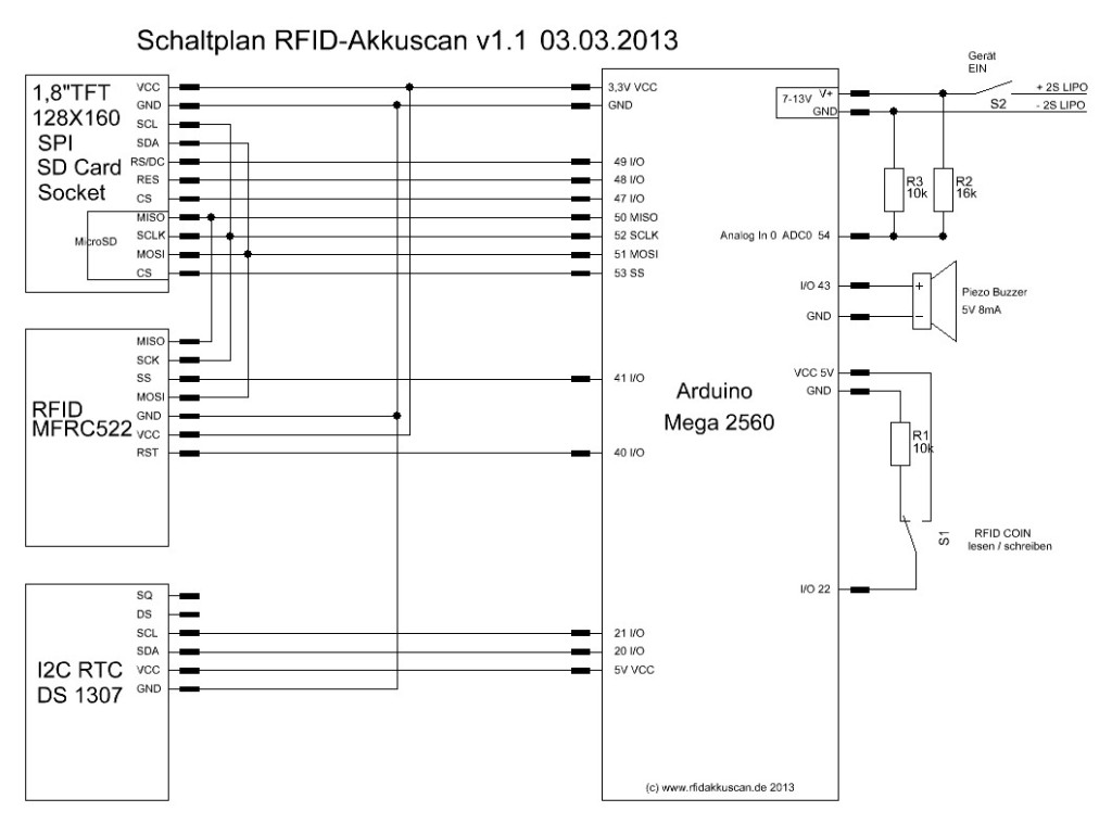 Schaltplan RFID-Akkuscan v1.1